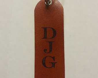 Leather personalized key chain with initials, monogram, keychain