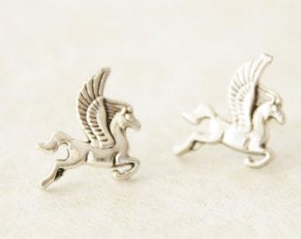 Pegasus Stud Earrings / Whimsical Silver Pegasus Earrings / Oxidized Silver Pegasus Jewelry * Magical Flying Horse Earrings * Gift for her