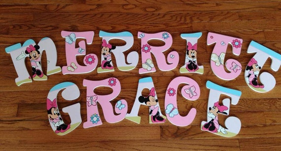 inspired minnie mouse hand painted wooden letters