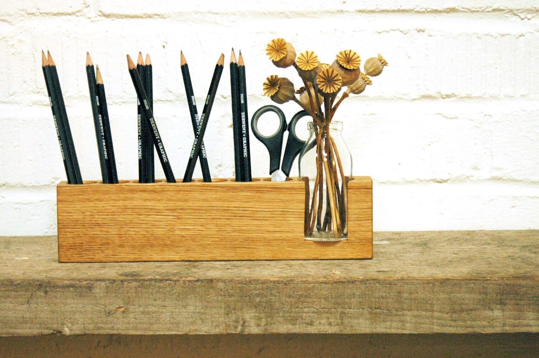 Pen Holder Wood Desk Organizer. Wooden Pencil Holder Wood
