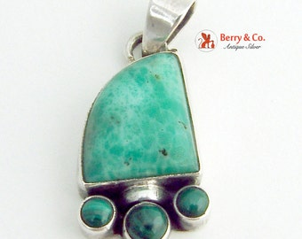 Green Stone Pendant Sterling Silver Malachite