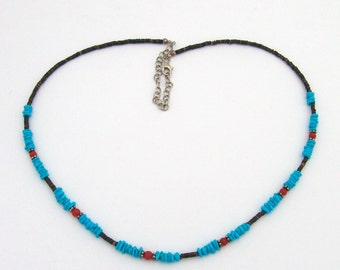 Necklace Turquoise Coral Sterling Silver Shell