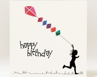 Handmade Silhouette Quilled Girl flying a Kite Birthday Card