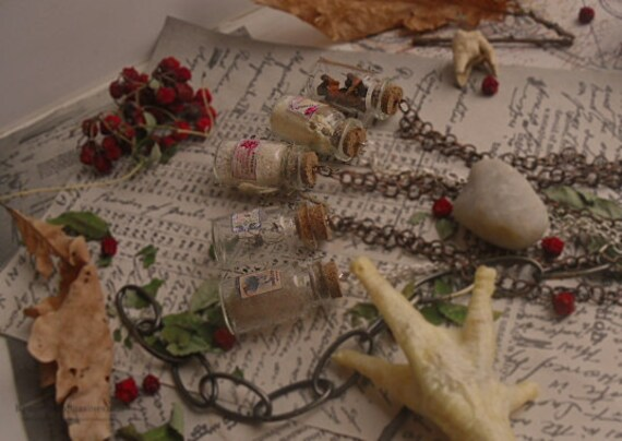 Halloween creepy bottle pendant   haunted apothecary jewelry   Human bones
