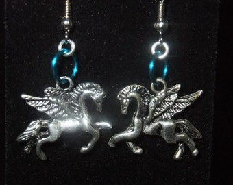 Blue Pegasus Earrings