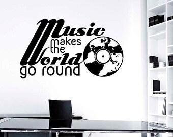Music Makes The World Go Round Wall Sticker