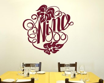 Writing In Form Of The Word Wine Wall Sticker