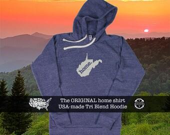 Tri Blend Pull Over Hoodie West Virginia Home Sweatshirt