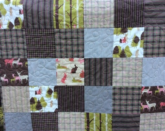 Baby boy toddler quilt, Handmade baby quilts, Modern baby quilts, Forest animals, Modern plaid, Westfallenstoffa.