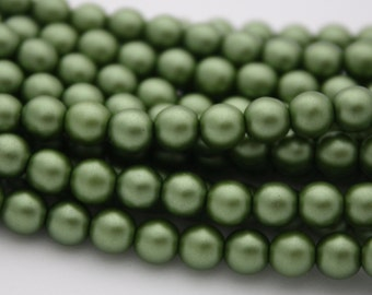 25 Czech Glass Pearl Beads in Olive Green - 6 mm