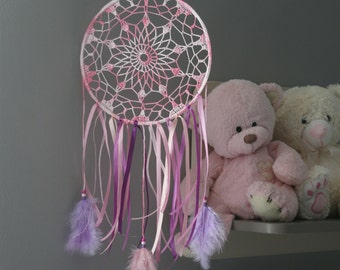 Dream Catcher, crochet dream catcher for a girl, baby girl room decor,  Baby dream catcher, great for a baby shower gift
