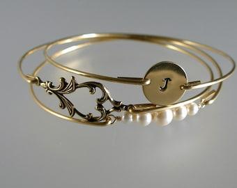 Art Nouveau Bridesmaid Bangle Set, Personalized Bangle, Pearl Gold Bracelet, Bridesmaid Gift, Bridesmaid Jewelry, Bridal Set (S241G,)