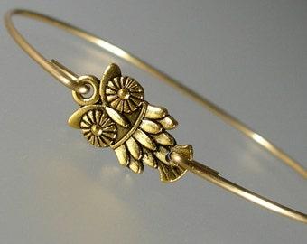 Gold Owl Bangle Bracelet, Gold Bangle Bracelet, Gold Bird Bracelet, Woodland Bangle Bracelet,  Little Owl Bracelet, Bridesmaid  (198G.)