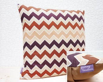 "Handmade 18""x18"" Cotton Cushion Pillow Cover in Dark Brown/Light Brown/Beige Modern Chevron Zig Zag Design Print"