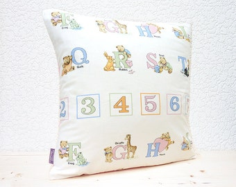 "Handmade 16""x16"" Childrens ABC/123 Teddy Bears/Rabbits/Trains Fabric Design Cotton Cushion Pillow Cover"