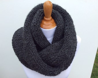 Chunky Charcoal color Scarf, Soft, Hand Knit Circle Infinity Scarf, Accessory, Infinity Scarf, Scarf, Neck Warmer, Circle Scarf