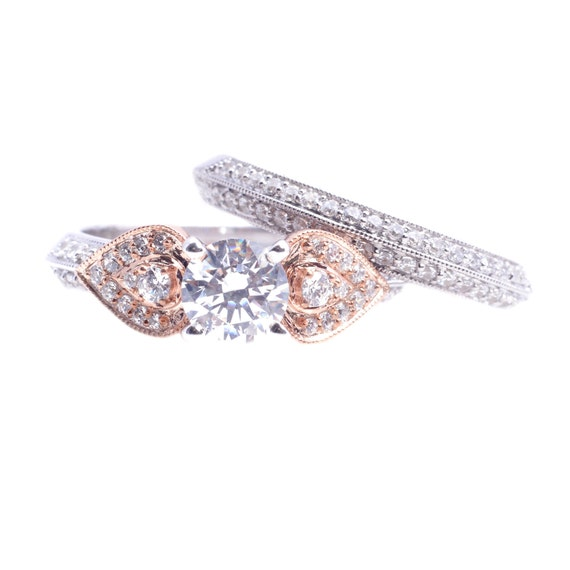 Items similar to 14Kt Rose Gold Two Tone Engagement Ring & Natural Diamo