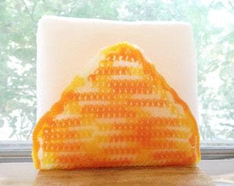OOAK Handmade Orange  white variegated Crochet Napkin Holder