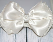 Ivory Satin and Organza Hair Bow, Special Occasion Hair Bow, Christening Headband, Flower Girl Hair Bow, Holiday Hair Bow