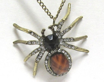Unusual Brass and Crystal Spider Pendant on a 26 inch Brass Chain 01 Halloween Creepy