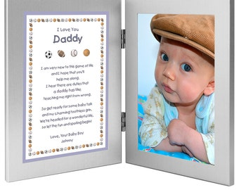 "New Dad Personalized Birthday or Father's Day Gift - Daddy Gift From Son ""Baby Boy"" - Double Frame with Poem - Add Photo (70-002)"