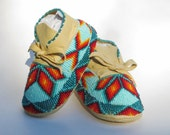 Shoes, Boys Moccasins, Unisex, Authentic Native American Made, Leather Moccs, Green, Teal, Turquoise, Infant Shoes, Booties Crib Shoes, Gift