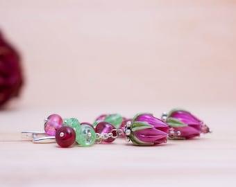 Pink Earrings, Lampwork Earrings, Lampwork Flowers, Fuchsia Earrings, Floral Earrings, Glass Earrings - pink, fuchsia, green