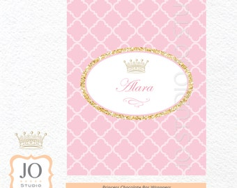 Princess Themed Chocolate Bar Wrappers / Princess Party / Gold Glitter