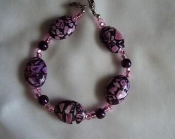 Pink and Black Ceramic Medical Alert Replacement Bracelet