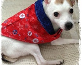 Reversible Doggie KOUTURE Kerchief Bandana--Spacious Skies--Patriotic--Red White Blue--Ready to Ship
