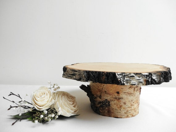 Birch stand wooden pedestal cake by daliaswoodland
