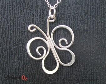 Butterfly Necklace, Butterfly Pendant, Sterling Silver Butterfly Handmade by BijouterieOz. Stylized Butterfly, Butterfly Jewelry