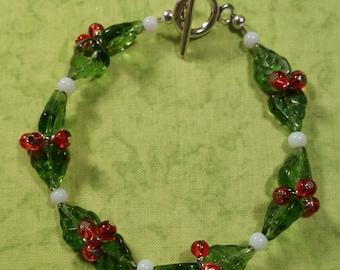 Holly Berry Beaded Bracelet