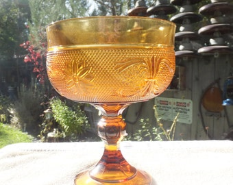 Large Amber Pressed Glass Compote Dish