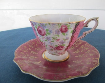 Vintage Mismatched Floral China Tea Cup And Saucer Marked Royal Standard Royal Seaby Collectible China Home Decor Serving