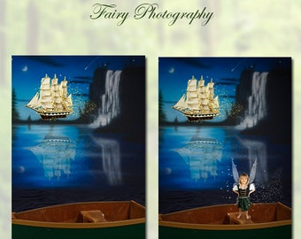 Pirate Ship and Dinghy Digital Background Great for Newborns, Babies, Toddlers and Pirate Fairies