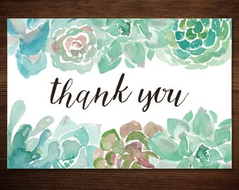 INSTANT Download - DIY Printable Thank You Card - Rustic Green Succulent