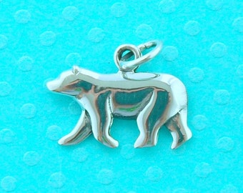 Sterling sterling silver polar bear pendant - 1 pc or more - stamped 925 animal jewelry necklace - smooth raised polished bear shape charm