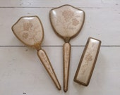 Vintage Vanity Set ' Delina'  Mirror and Brushes. vintage Dresser Set.
