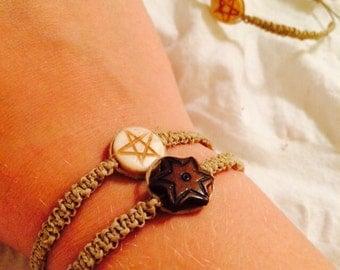 Star Bracelet, Natural Hemp Cords, Adjustable