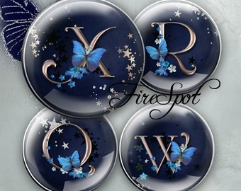 Butterfly alphabet,silver letter - Digital Collage Sheet 1.5 inch,1.25 inch,30mm,1 inch,25mm circle Glass Pendants,Bottlecaps,Scrapbooking