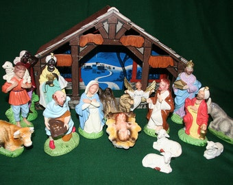 Large Composition  Nativity Set Sixteen Pieces Plus Heavy Cardboard Manger