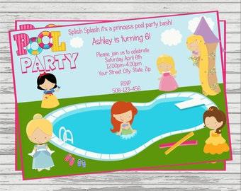 Princess Pool Party Custom DIGITAL Birthday Invitation.