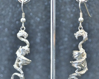 Sterling Silver Long Dragon Fantasy Dangle Earrings. Nickel free and hypoallergenic.