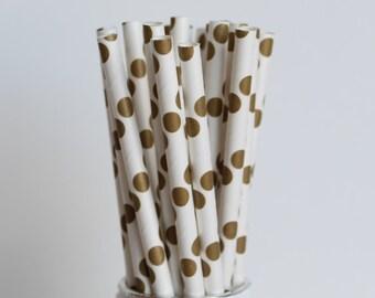 Gold Polka Dot Paper Straws-Gold Straws-Polka Dot Straws-Wedding Straws-Party Straws-Mason Jar Straws-Shabby Chic Straws-Gold Paper Straws