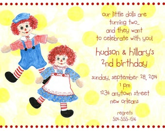 Raggedy Ann & Andy Party Invitation (set of 10) (8.5inx5.5in)