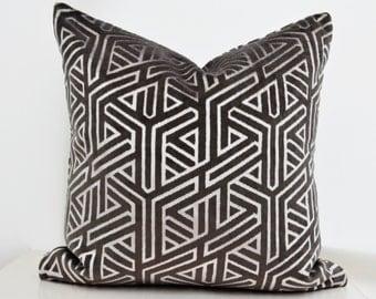 Silver Velvet Pillow Cover,Gray Velvet Pillow Cover,Metallic Pillow,Grey Pillow ,Grey Velvet Pillow,Geometric Velvet Pillow Cover