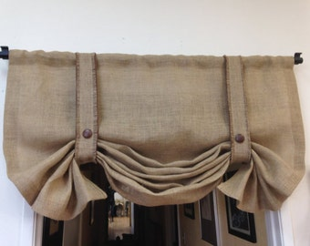 Burlap Valance, Shabby Chic curtains, Country Curtains, Bedroom Valance, Window Treatments, Chevron Valance, Rod Pocket Valance