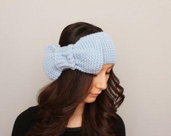 Knitted bow headband  , woman headband  ,ear warmer, aqua