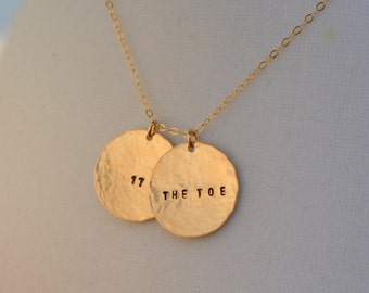 Gold Disc Name Necklace - Gold Two Disc Date Necklace